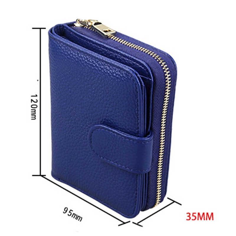 HMILY Echtem Leder Damen Brieftaschen Kurzen Falten Haspe Kreditkarte Halter Weibliche Große Kapazität ID Karten Geldbörse Damen Weibliche Taschen