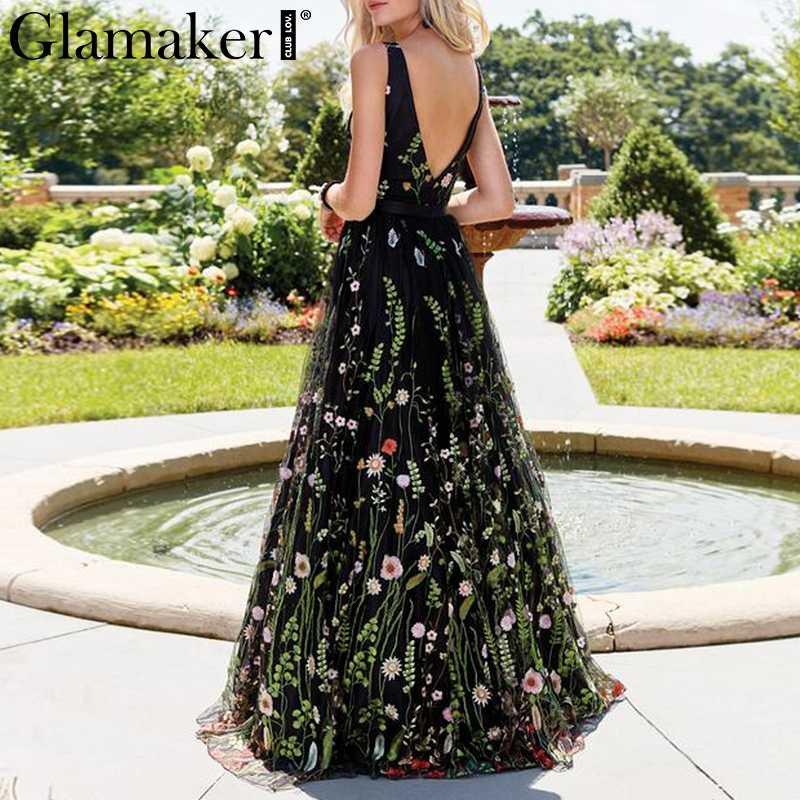 Glamaker сетчатая винтажная Цветочная вышивка, Макси-платье женское летнее пляжное платье с открытой спиной сексуальное элегантное женское платье с v-образным вырезом
