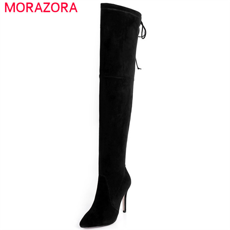 MORAZORA Thin heels shoes woman over the knee boots kid suede leather boots female stretch show thin shoes woman fashion the new spring and summer ms south korea ensure their boots comfortable show female water thin antiskid tall canister shoe