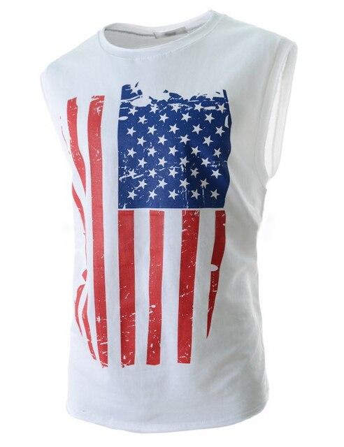 c6c522cd4e453 Fashion Casual Mens Vest Tops Shirt Summer USA American Flag Men s Tank  Fitness Sleeveless Male Bodybuilding