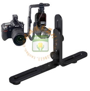Universal Adjustable Dual-L Flash Bracket Stand Support Holder for DSLR Camera