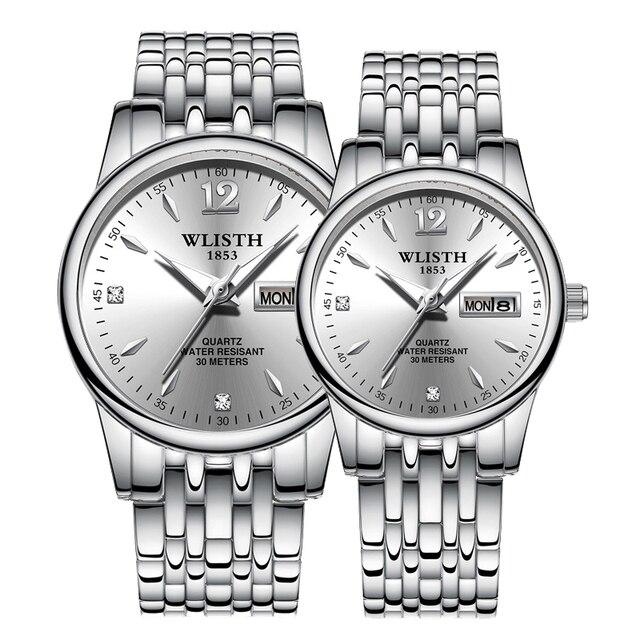 Couple Quartz Stainless Steel Strap Luminous Couples watch Set  2