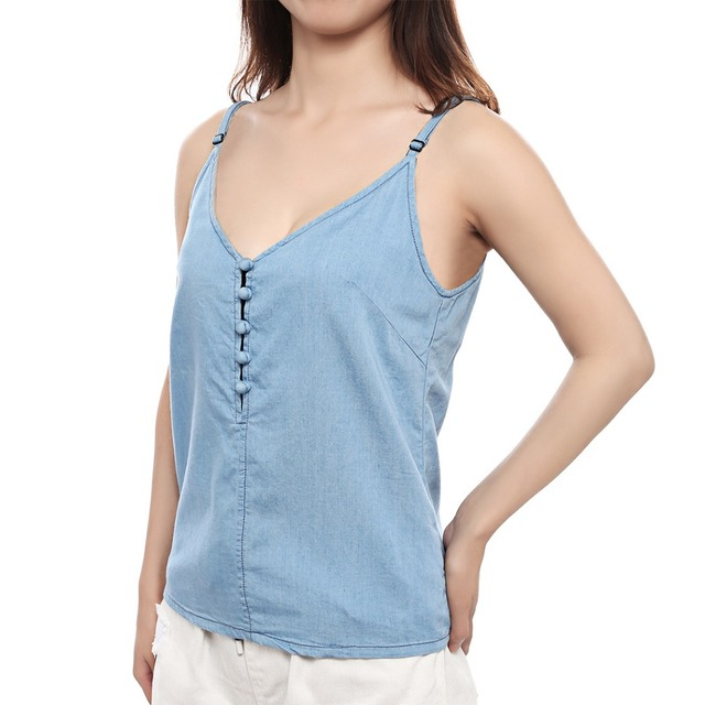 16c07abad17 2017 V neck Camisole Women Fashion Summer Loose Style Tank Top Sexy Button  Camis Casual Blusa