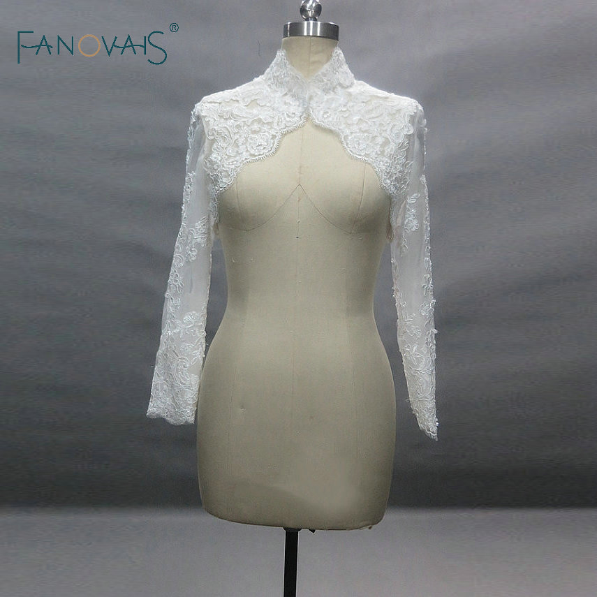 Real Pictures High Neck Lace Bolero Women Custom made Appliques Lace Wedding Jackets cape mariage