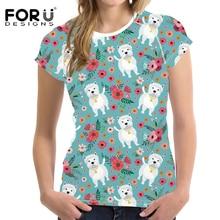 FORUDESIGNS Funny Wstie Dog Printing T Shirt Women Cartoon Dog Pattern T-shirt Teenagers Kawaii Tee Shirt Female Fashion Clothes dog pattern dip hem tee