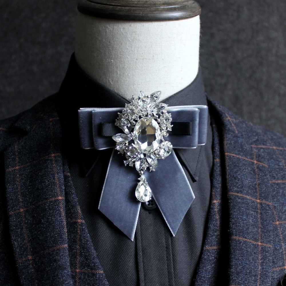 Free Shipping New male mens Mens Diamond Collar Show Hosts Dressing Collars England Suit Groomsmens Groomsmen Bow TIE woman