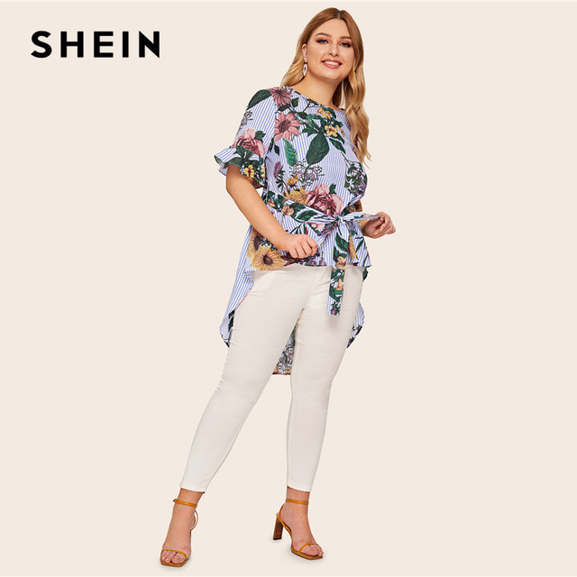 SHEIN Plus Size Multicolor High Low Floral And Striped Top Blouse With Belt 2019 Women Summer Boho Boat Neck Blouses Shirt 3