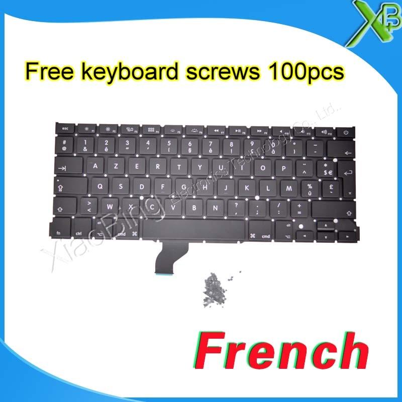 Brand New 13.3 A1502 AZERTY FR French keyboard+100pcs keyboard screws For MacBook Pro Retina 2013-2016 Years