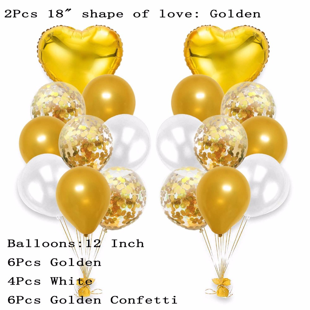 18pcs lot 12 Inch Black Gold Pearl Latex Balloons With 18 Inch Heart Wedding Birthday Party Decor Inflatable Air Ball Supplies in Ballons Accessories from Home Garden