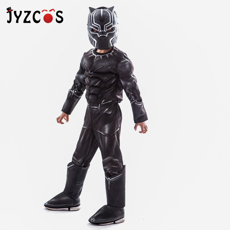 JYZCOS Kids Muscle Black Panther Costumes Avengers Superhero Cosplay Costume Halloween Purim Carnival Party Masquerade Costume