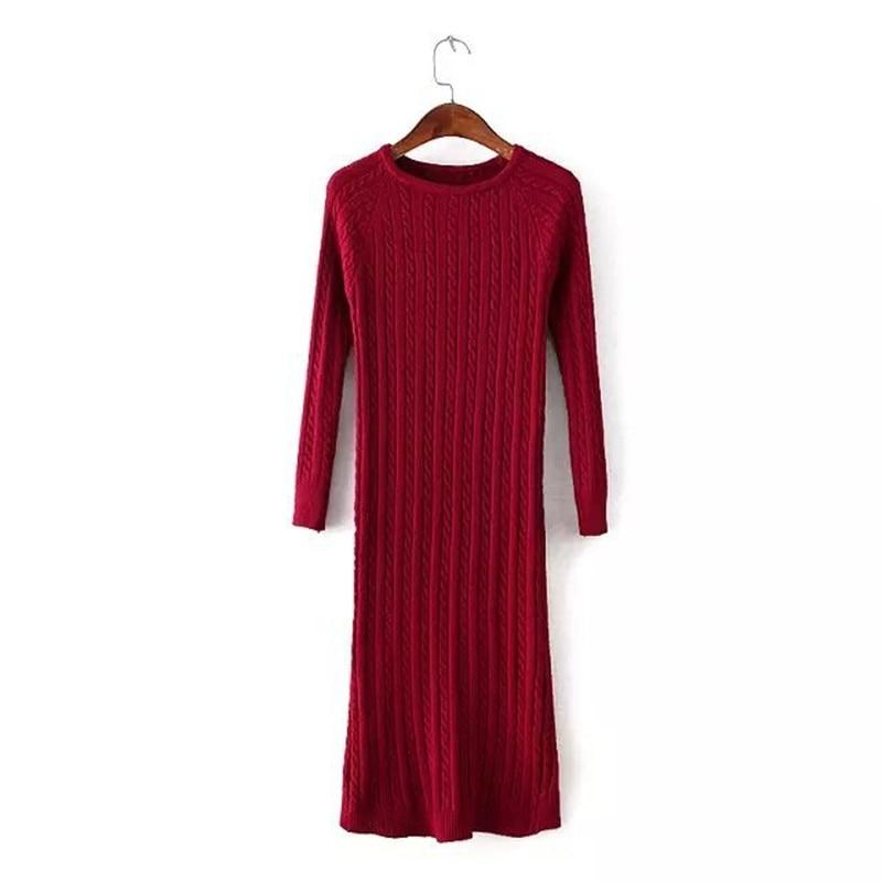 New Twist Women long sweater dress 2017 spring sexy slim Bodycon Dresses Elastic Skinny Split Dress Brief Knitted Dress vestidos