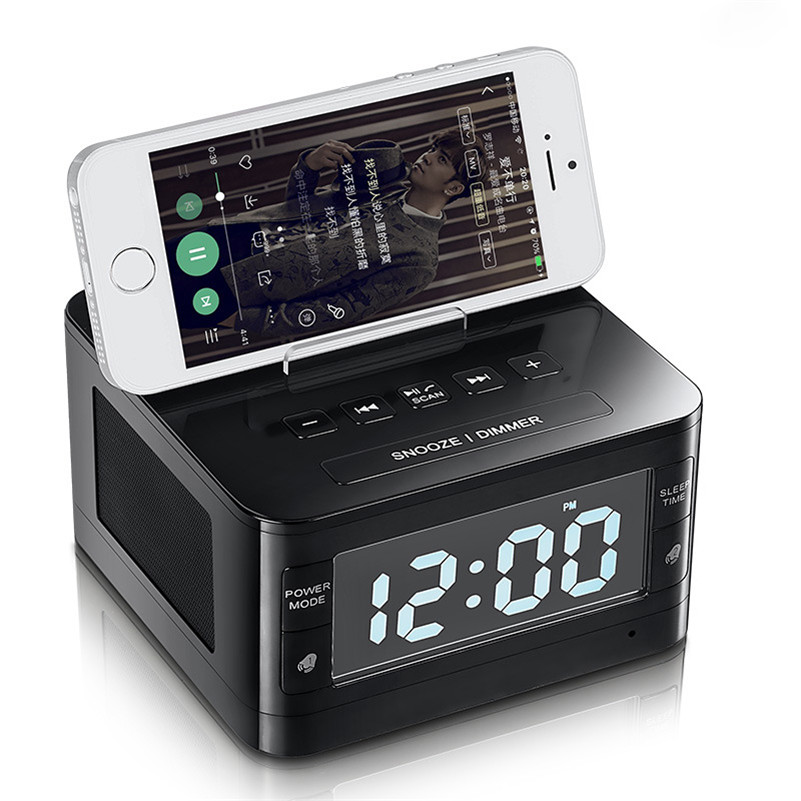 Stereo Wireless Bluetooth Speaker FM Radio Alarm Clock Computer Speakers with Charger Dock Station Holder for iPhone Android PC lcd digital fm radio alarm clock music touch station bluetooth stereo speaker for iphone 5 5s iphone6s 7