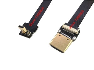 Image 3 - 40CM/50CM/60CM/80CM/1M Ultra Thin HDMI Cable FPV Micro Male Up angle 90 degree to Standard TypeA Male Straight (REVERSE SOCKET)