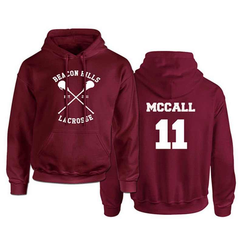 Teen Wolf Kaus Pria dan Wanita Merah Hangat Pullover Stilinski Lahey McCall Dicetak Mens Hoodies Hip Hop Streetwear Pakaian