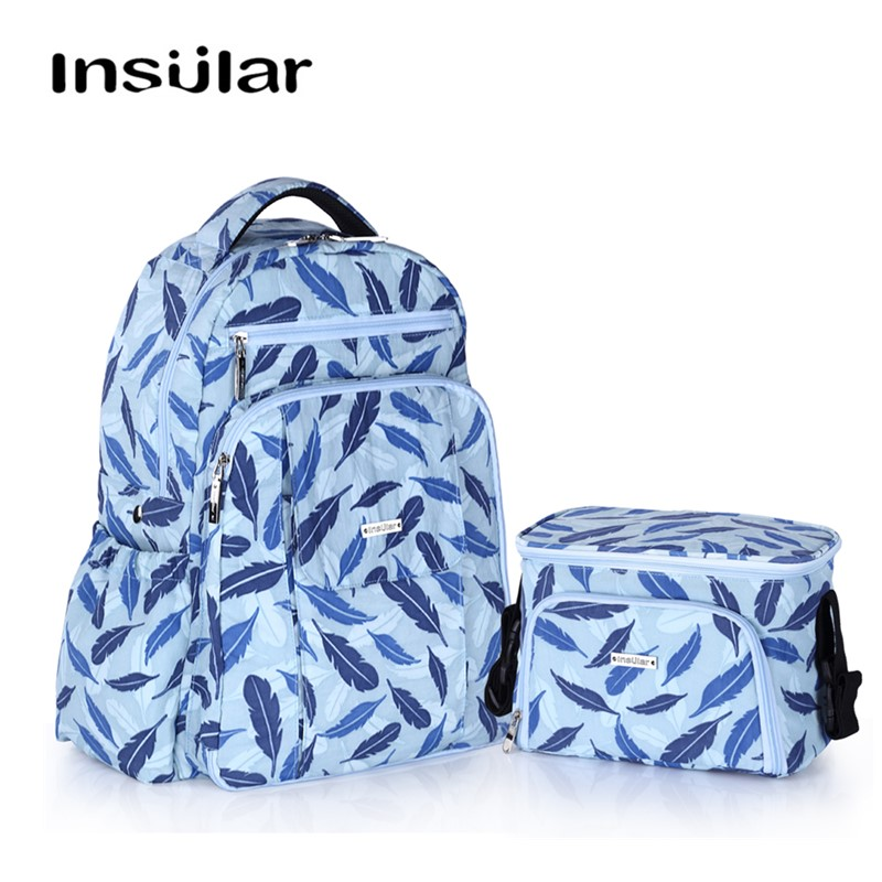 INSULAR Fashion Diaper Bags Backpack And Thermal Insulation Bags SET For Baby Care Strollers With Wet Bag/ Hook/Changing Bag