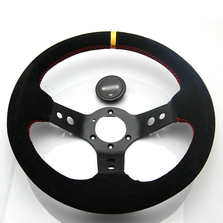 Ipoboo Новый Универсальный спортивный 340 мм второй уровень кожа глубокое блюдо Руль желтый в полоску