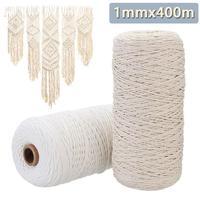 1 мм x 400 м бежевый белый Хлопковый витой шнур плетение из веревок богемное макраме BOHO String ручной работы декоративные аксессуары