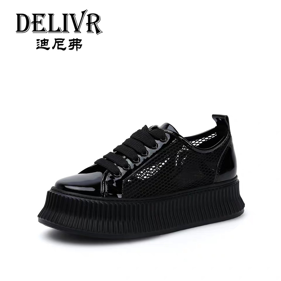 Delivr Black Female Casual Shoes Platforms Luxury Ladies Sneakers Thick Sole WomenS Vulcanized Shoes Leather Breathable 2019Delivr Black Female Casual Shoes Platforms Luxury Ladies Sneakers Thick Sole WomenS Vulcanized Shoes Leather Breathable 2019