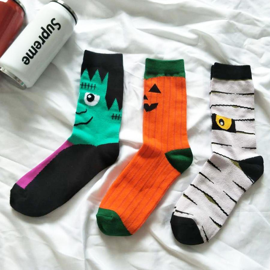 Personality Halloween Pumpkin Socks Fashion Funny Cute Happy Cartoon Male Sock Autumn Comfortable Stitching Pattern Cotton Socks