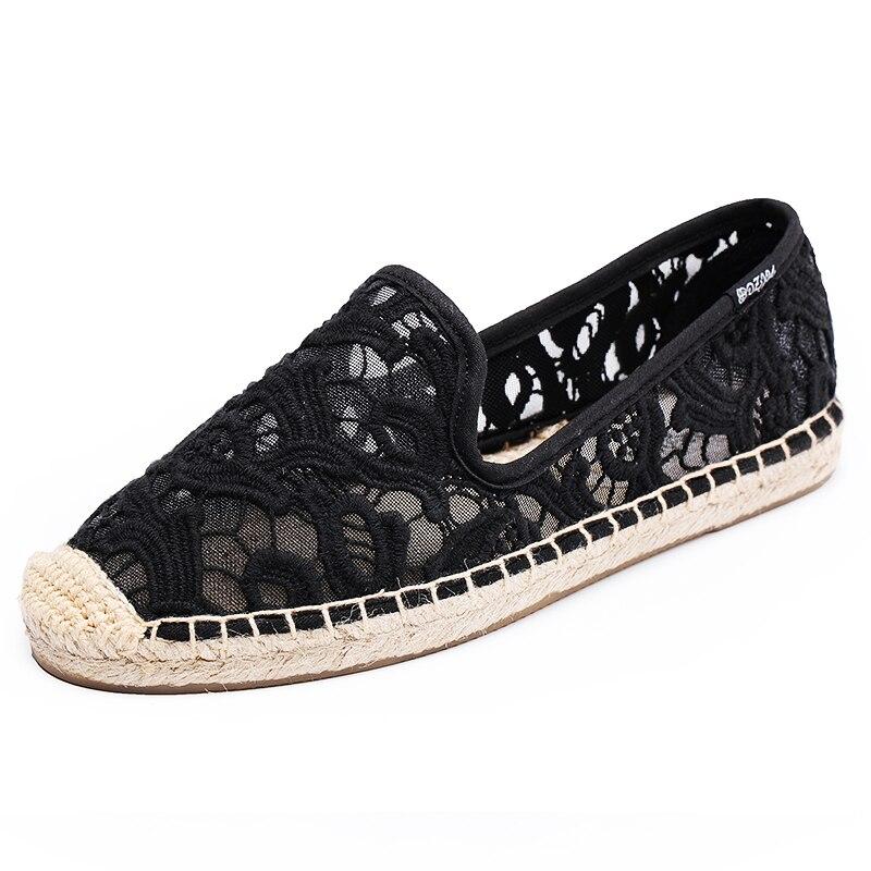 Air 2018 Tissé Appartements Fleurs Chanvre Chaussures Dentelle Sneakers D'été Mocassins Dzym Mesh Fretwork Noir Printemps Broderie blanc Filet Zapatos Femmes De wfqgtS