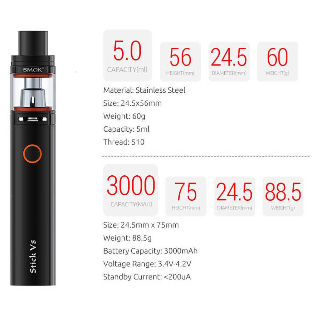 Original SMOK Stick V8 Kit E Cigarette Vape Pen Mod 3000mAh with TFV8 Big  Baby Vaporizer 5ml Atomizer V8BABY Head Coil VS X8 22
