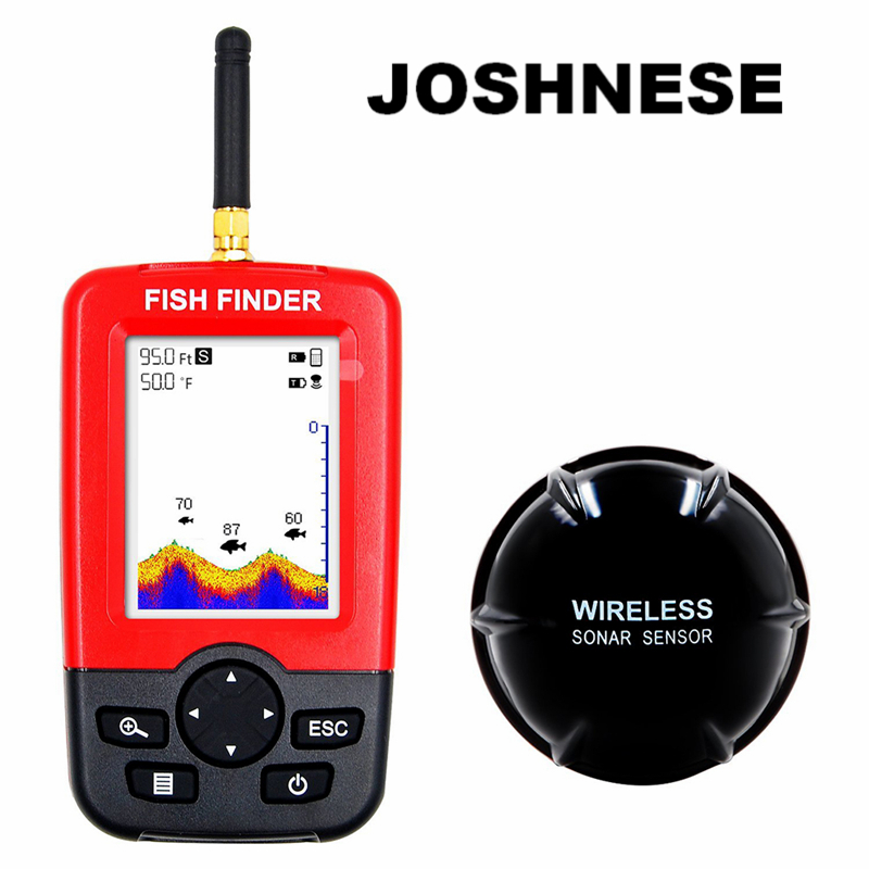 JOSHNESE Brand 1 Portable Depth Fish Finder With 100 M Wireless Sonar Sensor Echo Sounder Fishfinder