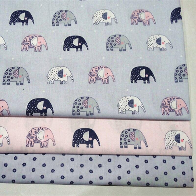 100 Cotton Gray And Pink Bottom Cartoon Elephant Printing Fabric
