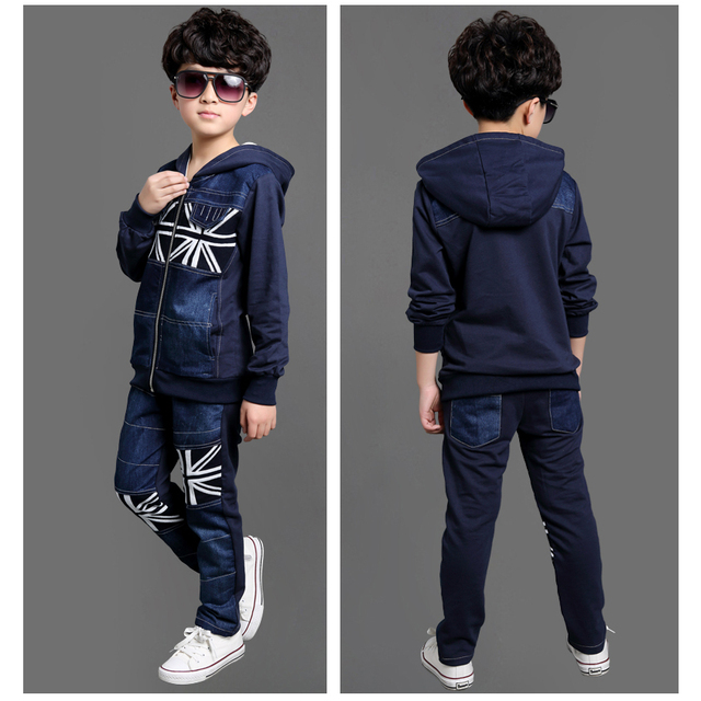 Boys on Dazhong children denim clothes + pants suit Spring Dongkuan Baby Clothing Sets Boys Clothing Clothing Set 50#