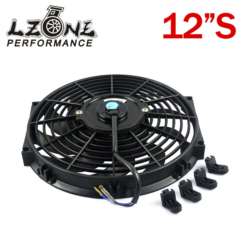 LZONE - 12Inch Universal 12V 80W Slim Reversible Electric Radiator AUTO FAN Push Pull With mounting kit Type S 12JR-FAN12