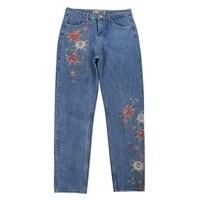 Yeni Moda Çiçek Nakış Kot Kadın Rahat Pantolon Cepler Düz Kot Kadın Alt S/M/L/XL