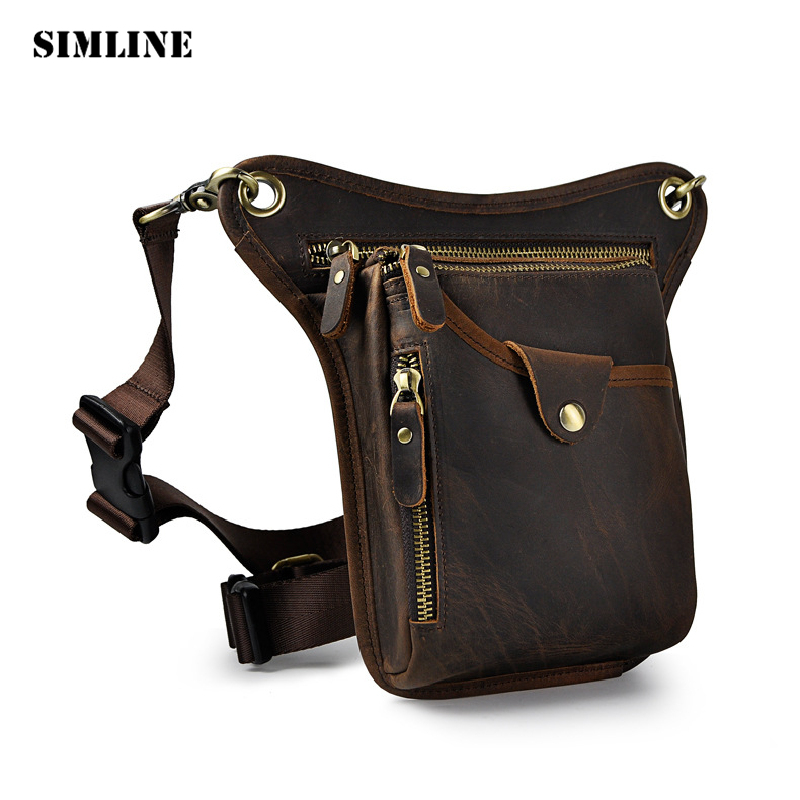 SIMLINE Vintage Casual 100% Genuine Leather Cowhide Men Belt Waist Bag Pack Packs Shoulder Messenger Crossbody Bags Phone Pouch vintage bags real genuine leather cowhide men waist pack pouch for men leather waist bag outdoor travle belt wallets vp j7144