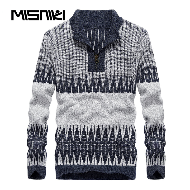 MISNIKI Hot Fashion Autumn Winter Knitted Mens Pullover Sweater Casual Slim Male Sweater