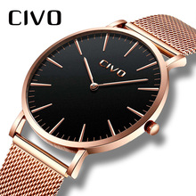 Get more info on the CIVO Ultra Thin Minimalist Watch Men Fashion Casual Waterproof Unisex Wrist Watches With Stainless Steel Mesh Date Women Watches