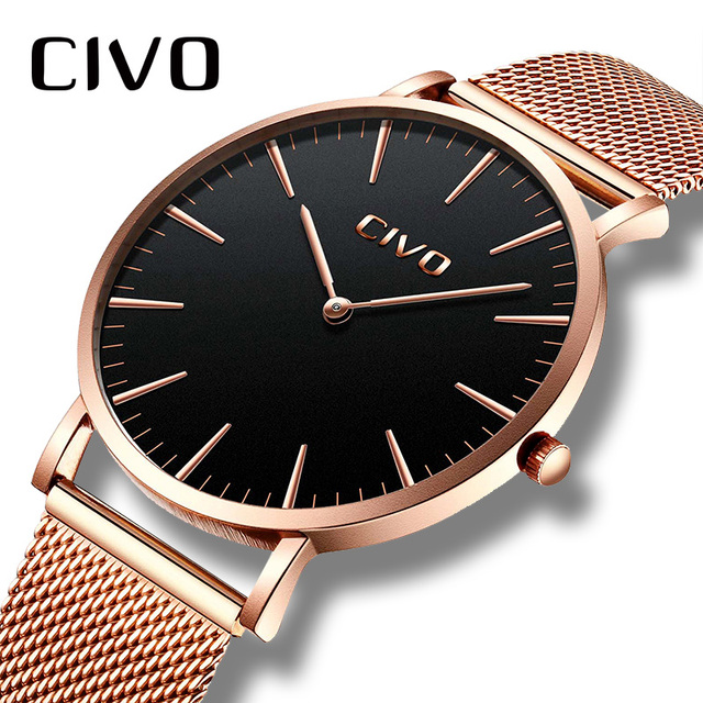 c54c04b73000 CIVO Ultra delgado minimalista reloj hombres moda Casual impermeable Unisex  relojes de pulsera con acero inoxidable