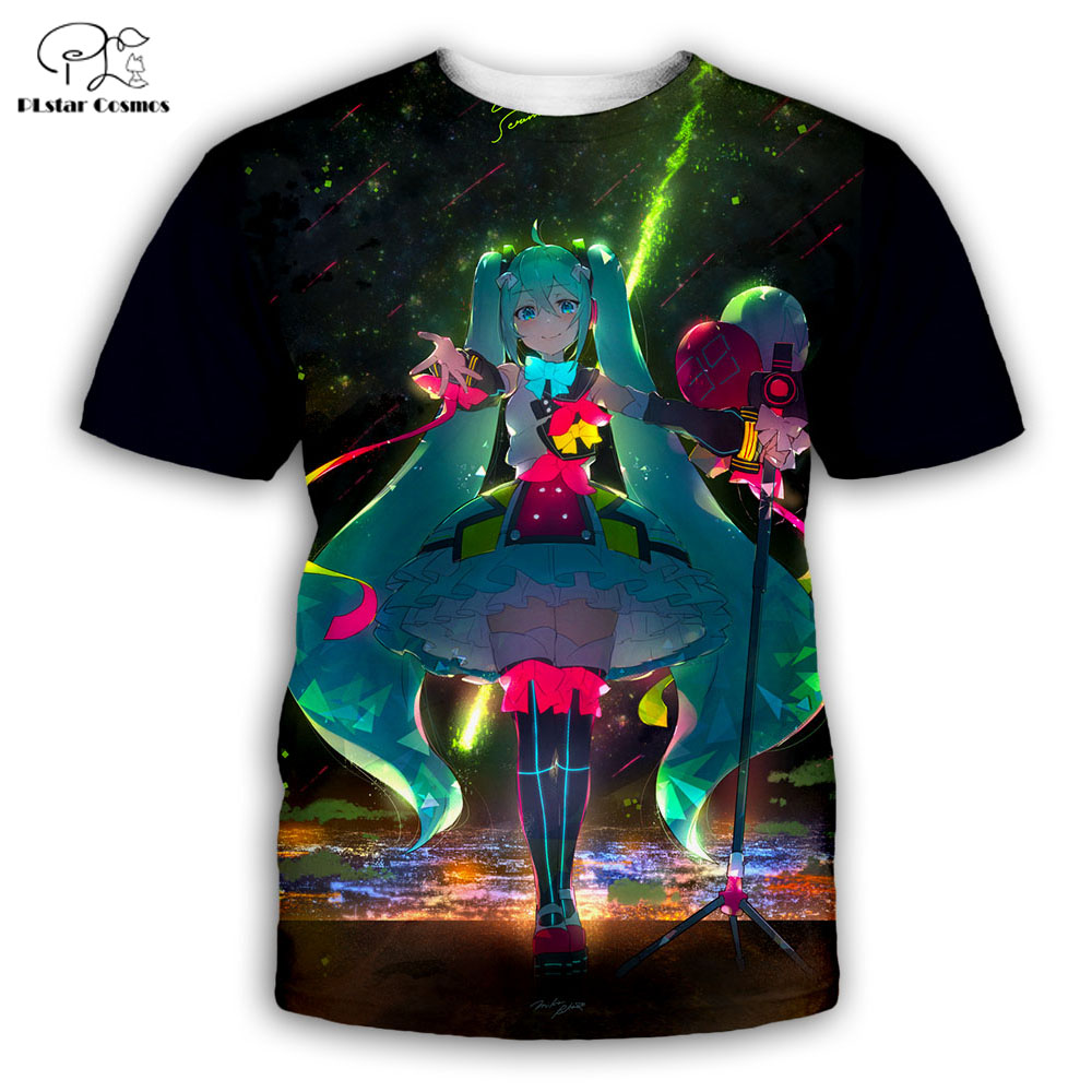 PLstar Cosmos t shirts summer men womens t shirt fashion top tees boy for girl Anime Hatsune Miku 3D printed shirts Free shippin in T Shirts from Men 39 s Clothing