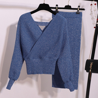 New 2019 Winter Knitted 2 Pieces Set Women Sexy V Neck Soft Pullover Sweater and Skinny Skirt Female Backless Sweater Suits Set
