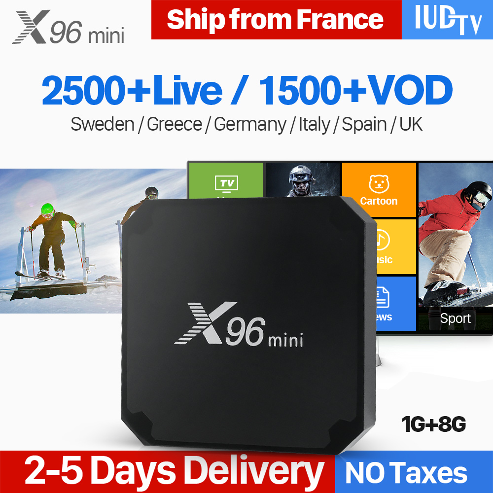 X96 mini IPTV Spagna Arabo 4 k Astuto di Android 7.1 TV Box 1 Anno IUDTV Codice Francese REGNO UNITO Spagna Italia norvegia X96mini IPTV Top Box