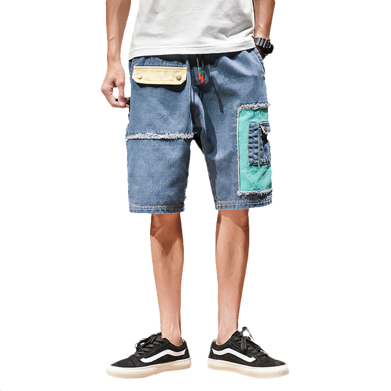 2020 Summer Patchwork Mens Jeans Shorts Multi-pocket Casual Hip Hop Men Short Pants Streetwear Mens Military Cargo Shorts
