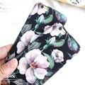 Moda dos desenhos animados da flor da camélia caso para iphone 6 case para iphone 6 S 7 7 Mais Cobertura De Luxo Retro Floral Casos de Telefone de Disco Coque