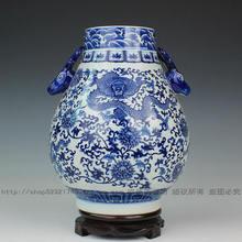 Jingdezhen ceramic vase antique blue and white porcelain interlocking lottos home decoration