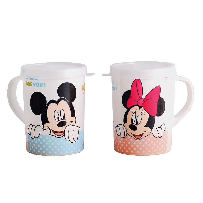 Disney 200ML dessin animé Mickey Minnie paille tasse avec couvercle garçons filles maternelle bouteille unique oreille tasse