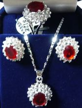 free transport>>> Charming!14KGP Crimson Rhinestone necklace Earring ring Units18Ok watch wholesale Quartz stone CZ crystal