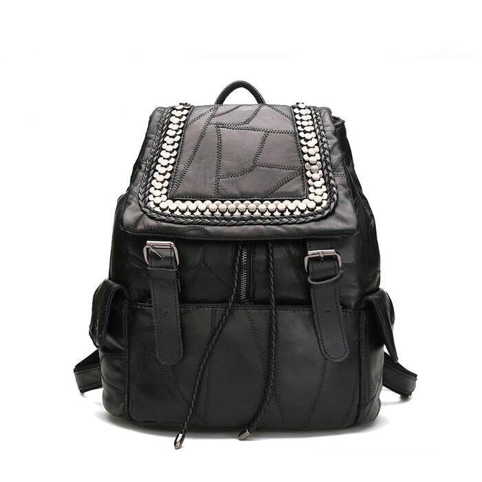 Fashion Genuine Leather Backpack Women Bags 2017 Women s Back Pack Sheepskin splicing rivet backpack