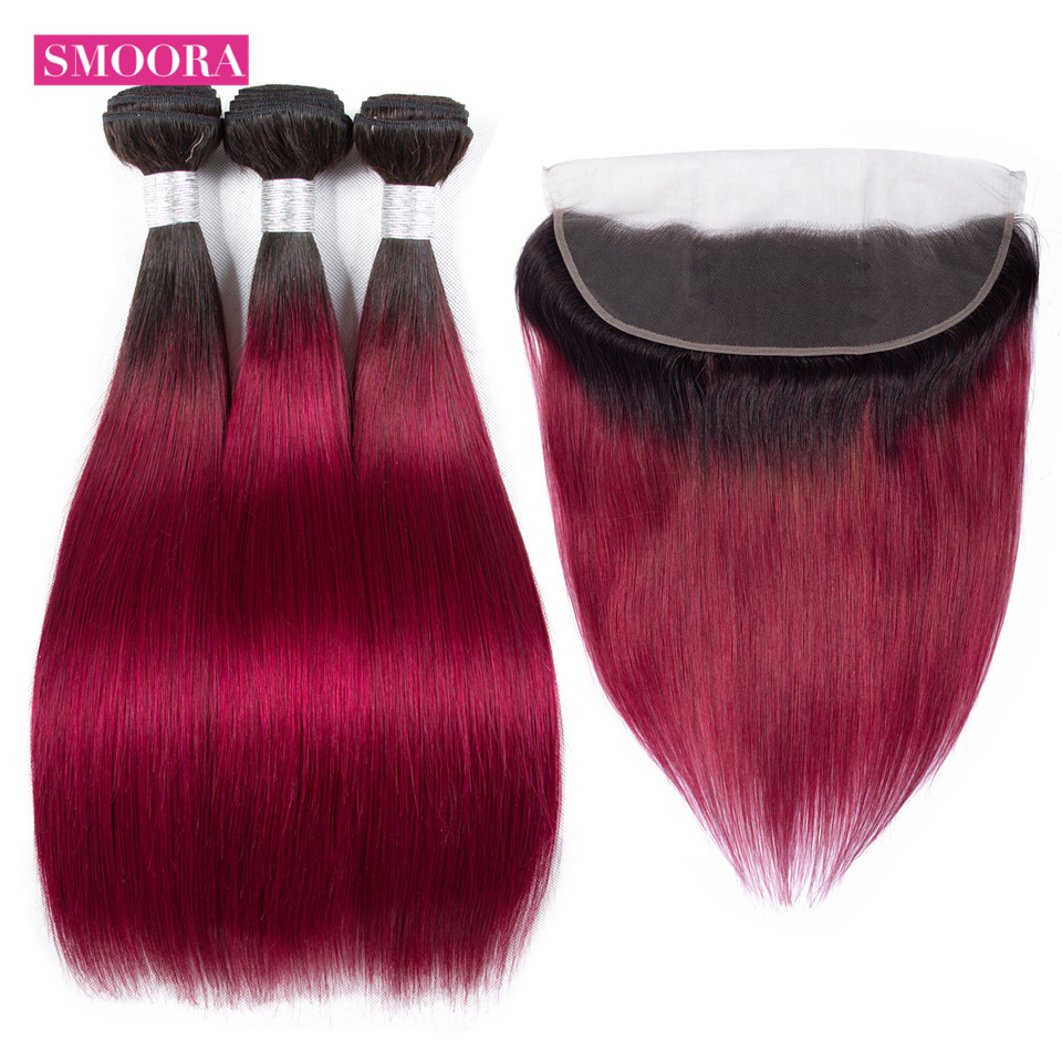 ombre burgundy straight bundle hair with frontal