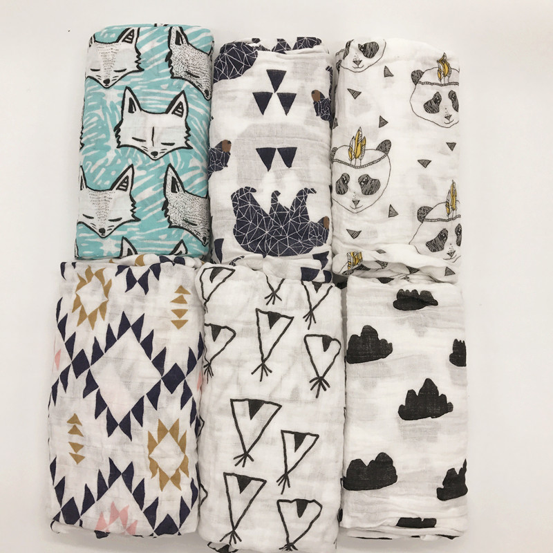 Muslin baby swaddle blanket baby swaddle Cotton 100% Newborn Baby Bath Towel Swaddle Blankets Multi Designs Functions Baby Wrap цена