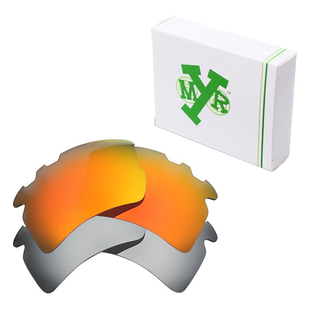 be45de0227 2 pares mryok polarizado Objetivos para Oakley Flak 2.0 XL vented Gafas de sol  Titanium Silver & Fire red