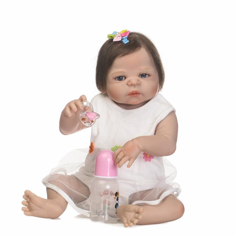 23 inch Full Girl body silicone reborn baby doll bebe princess reborn bonecas white dress rooted hair child gift toy dolls цена