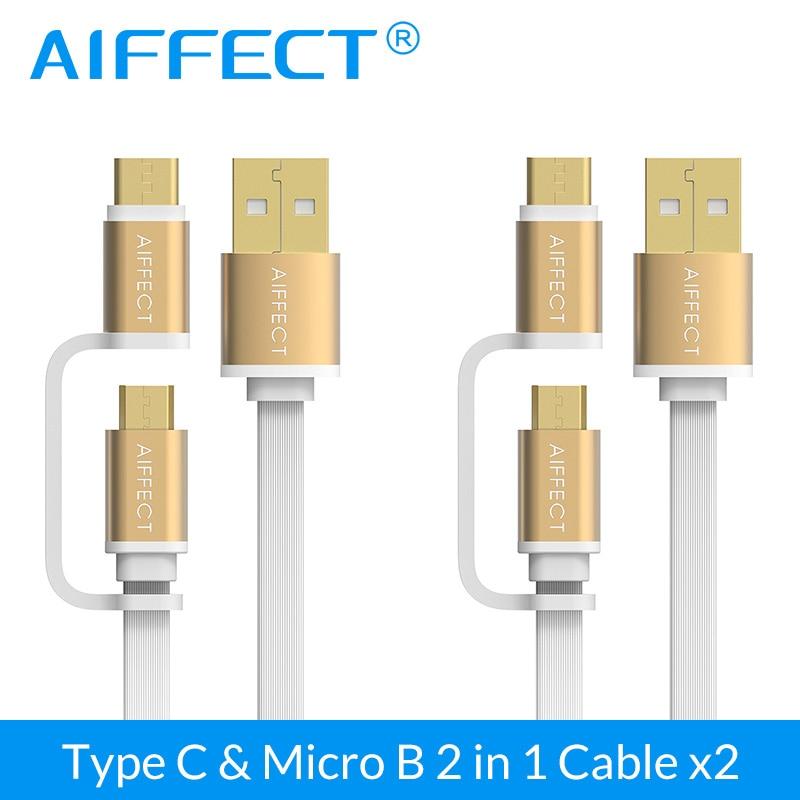 AIFFECT 2 em QC 1 Micro USB Cabo Tipo C para Micro USB 3.0 para Conversor usb cabo do Carregador Android para o telefone ou Tablet PCS 2