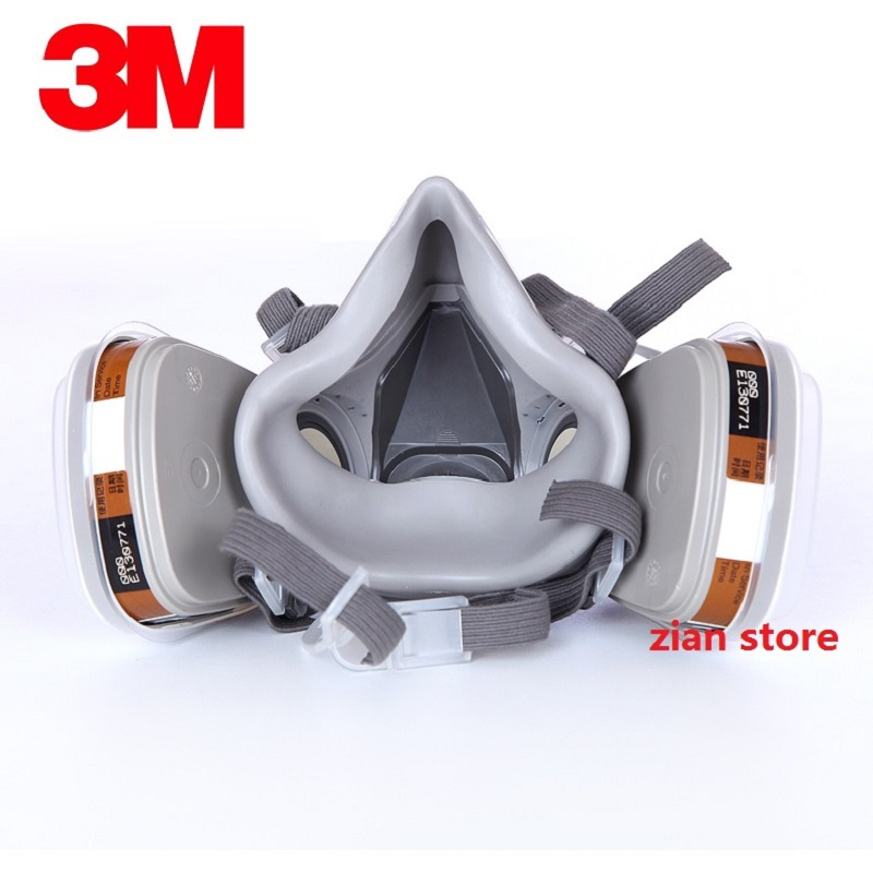 3M 6200 Chemical Gas Mask 8 in 1 Painting Spray Respirator with Anti-Fog Glasses Pesticide Formaldehyde Particles Half Mask