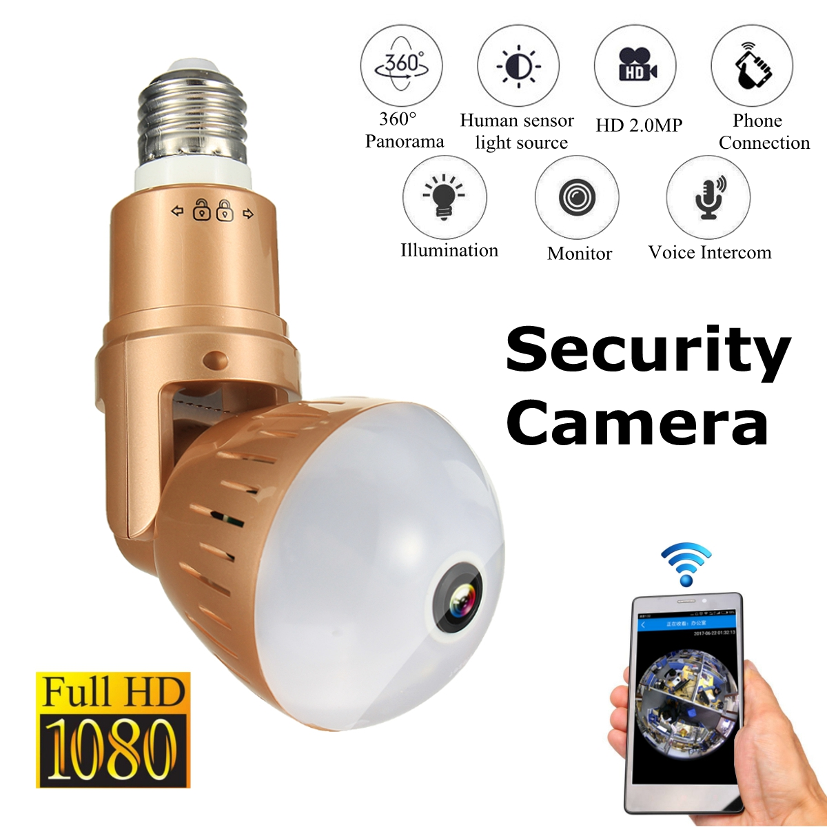360 Degree 1080P HD Panorama Monitor Panoramic Wireless Wifi IP Light Bulb Security Camera Home Monitor360 Degree 1080P HD Panorama Monitor Panoramic Wireless Wifi IP Light Bulb Security Camera Home Monitor